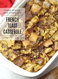 Overnight French Toast Casserole by The Toasty Kitchen #casserole #breakfast #breakfastcasserole #frenchtoastcasserole #overnightcasserole #pecans French Toast Bread Pudding, French Bread French Toast, Overnight French Toast, Nut Recipes, Brunch Recipes, French Toast Caserole, Thanksgiving Dinner Recipes, Christmas Recipes, Breakfast Dishes