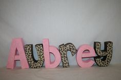 Nursery letters six wood letters pink and brown on Etsy, $72.00