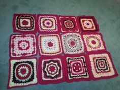 "Crochet along 12"" square afghan squares made so far"
