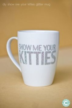 Did you know you can iron vinyl onto glass for a dishwasher safe finish- Check out how- with this hilarious mug!
