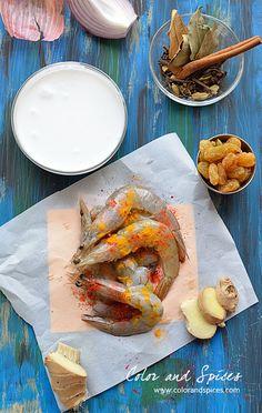 Indian Food Recipes, Ethnic Recipes, Korma, Shrimp Recipes, Raisin, Coconut Milk, Fresh Rolls, A Food, Yogurt