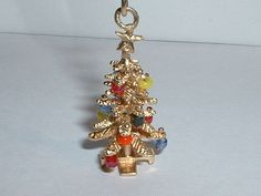 VINTAGE 14k YELLOW GOLD 3D CHRISTMAS TREE PENDANT CHARM w/ ornaments in Charms & Charm Bracelets | eBay