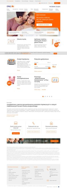 Strona główna banku ING. Jasna, czytelna, łatwa w nawigacji. #web #design #business #banking #webdesign