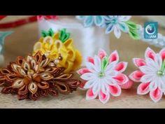 DIY Серьги и кулон из лент. Канзаши. Мастер-класс \ Earrings and pendant of ribbons. Kanzashi. - YouTube