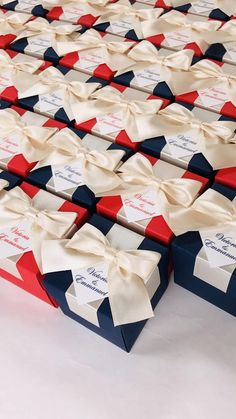 Navy Blue & Red wedding favor box with champagne satin ribbon bow and custom tag, Elegant Personalized gift boxes make a unique way to thank guests for attending your special day. #welcomebox #giftbox #personalizedgifts #weddingfavor #weddingbox #weddingfavorideas #bonbonniere #weddingparty #sweetlove #favorboxes #candybox #elegantwedding #partyfavor #giftboxes #uniqueweddingfavors #redwedding #bluewedding #champagnewedding