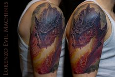 Drago Realistico a colori - Color Realistic Dragon by Lorenzo Evil Machines - Roma Realistic Color Tattoo by Lorenzo Evil Machines - Roma - tatuaggi realistici e ritratti 3D animali
