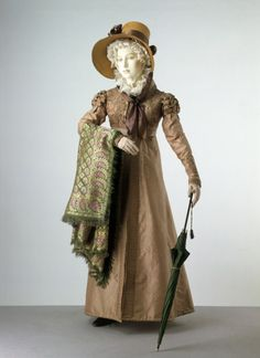 Pelisse was a full length coat and was a warmer longer sleeved coat than the Spencer, but often made of the same materials like silk or cotton.