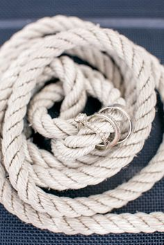 After you tie the knot, string your wedding rings onto rope for a nautical display.