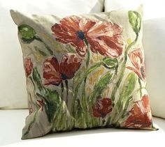 Painted Poppy Outdoor Pillow gracing other side of swing! Yes, definitely have to nap! #potterybarn