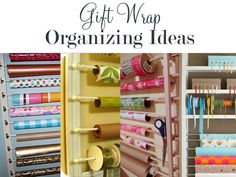 Organization for gift wrap, etc....use with the picture frame pin to build a hanging wrapping paper station!