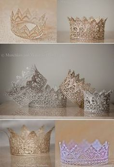 DIY: crowns - lace, paint, modge podge