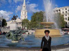 Trafalgar Square on a beautiful day.