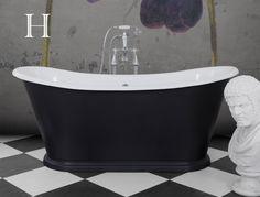 Caravel Cast Iron Bateau Bath in Farrow & Ball Off Black