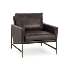 A retro shaped leather occasional chair with contemporary presence.
