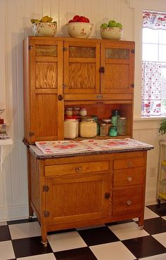 1916 Sellers Kitcheneed Cabinet in fabulous condition - love the white bead board paneling and classic, checkered floor Call Us Antique Hoosier Cabinet, Antique Bookcase, Antique Cabinets, Kitchen Furniture, Kitchen Decor, Kitchen Ideas, Lane Furniture, Leather Furniture, Furniture Online