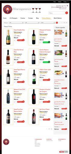 Página de Vinhos - com produtos no carrinho de compras