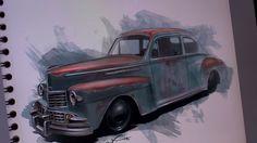 An artist's sketch of a derelict car. Beautiful rendition.