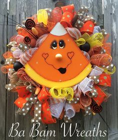 Halloween Wreath Candy Corn Wreath Halloween by BaBamWreaths