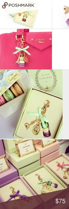 LADUREE Keychain Ring Eiffel Tower Macaron Charm A gorgeous bag charm, Authentic From Paris Brand New Never Been Used. Will Come In Box. Ladurée is a French luxury bakery and sweets maker house created in 1862. It is one of the world's best-known premier sellers of the double-decker macaron, fifteen thousand of which are sold every day. LADUREE Accessories Key & Card Holders