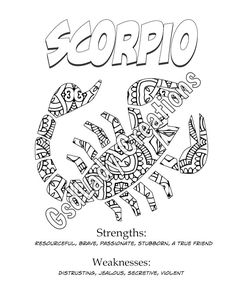zodiac star sign art print scorpio astrology print coloring page novelty gift horoscope astronomy adult coloring astrology art
