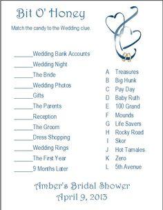24 Personalized BIT O HONEY Bridal Shower Candy Match Game via Etsy Bridal Games, Wedding Games, Wedding Night, Wedding Bride, Photo B, Matching Games, Life Savers, Shower Games, Bridal Shower