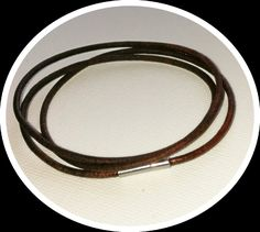 Vintage brown Pandora-style leather wrap charm bracelet by BohoBoutiquex on Etsy