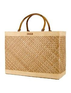 0e300dd73de Tan raffia Kate Spade handle bag with wooden trim