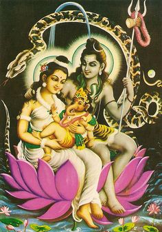I love this! beautiful Ganesh and his parents, Shiva and Parvati