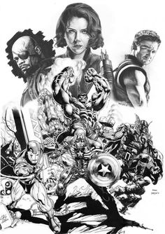 The Avengers by David Finch, Brett Booth, Clayton Henry, and Rubus, inks by Drajad *