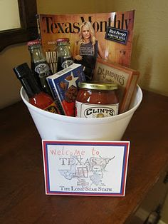 "Guest Welcome Basket ... I used authentic ""Texas"" items to give my guests and…"