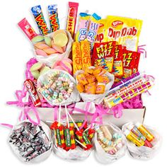 Retro sweets: In this hamper we have many sweets that are now classed as retro due to being very popular many years ago. This picture jumped out at me because I remember indulging many of these sweets myself. --- treasureislandsweets.co.uk - 2015