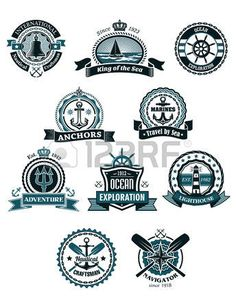boat logo: Vintage blue marine badges and icons including ship, helm, anchor, crossed paddles, old lighthouse, compass, bell,ropes, chains, lifebuoy
