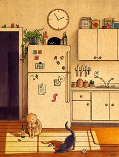 Kitchen Floor Art Print by Felicia Chiao - X-Small Art And Illustration, Watercolor Illustration, Watercolor Art, Building Illustration, Kunst Inspo, Art Inspo, Aesthetic Art, Aesthetic Anime, Arte Indie