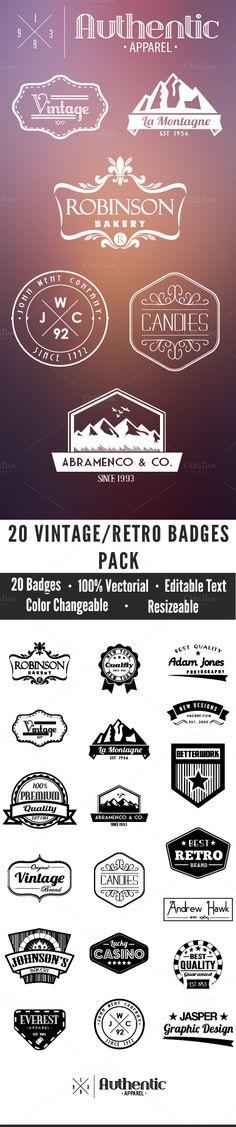 20 Vintage Badges Pack by Seceme Shop on Creative Market