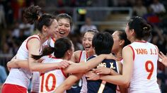 China celebrates winning thematch against Republic of Korea during women's Volleyball on Day 9 of the London 2012 Olympic Games at Earls Court