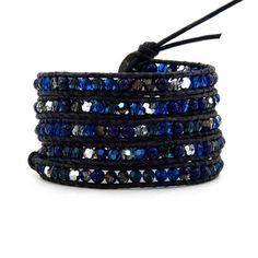 Blue Mix Crystals Wrap Bracelet Black Leather Handmade 5 Multilayer 4mm Beads Woven Bangle *** You can get additional details at the image link. #Jewelry