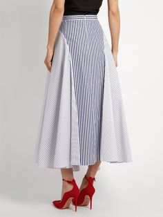 Click here to buy Adam Lippes Handkerchief-hem striped cotton skirt at MATCHESFASHION.COM