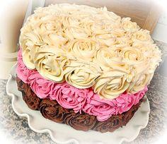 Neapolitan Rose Cake by stickygooeychef, via Flickr
