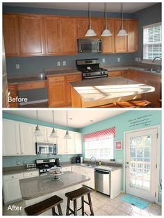 Love the DIY cabinet painting and backsplash tile