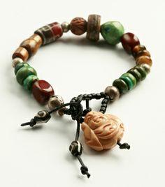 """Awareness""~prayer beads with Buddha pendant."