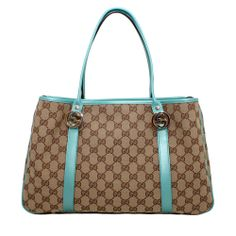Gucci GG Twins Blue Leather Canvas Handbag