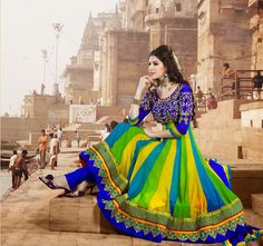 Exquisite Lime Green, Royal Blue & Yellow Salwar Kameez | StylishKart.com