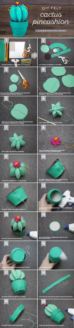 Felt Cactus Pincushion - Lia Griffith