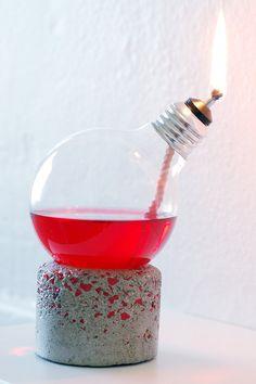 Light Bulb Oil Lamp Handmade