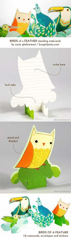 Pop Up Notecards by Susie Ghahremani / boygirlparty. source: http://shop.boygirlparty.com/products/birds-of-a-feather-cards