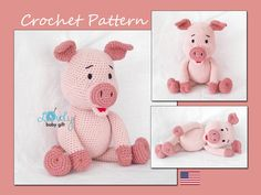 Piglet Crochet Pattern, Pink Amigurumi Piggy, Pig Crochet Tutorial, CP-142 by LovelyBabyGift on Etsy https://www.etsy.com/listing/223752090/piglet-crochet-pattern-pink-amigurumi