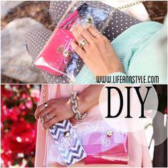 DIY :: Clear crossbody mini clutch/purse