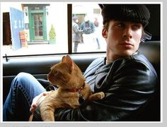 Ian Somerhalder with his cat