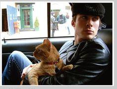 Ian Somerhalder with his cat