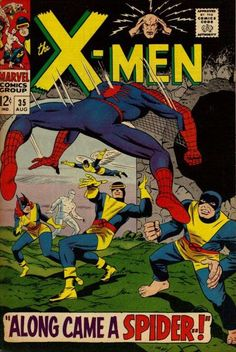 """X-Men and Spider-man Silver Age story, titled """"Along Came A Spider."""" Banshee calls to the X-Men for help against a mysterious spider creature. When the young mutants encounter Spider-Man, they mistake him for an enemy and a battle ensues. Marvel Comics, Marvel Comic Books, Comic Book Heroes, Comic Books Art, Marvel Dc, Comic Art, Silver Age Comics, Vintage Comic Books, Vintage Comics"""